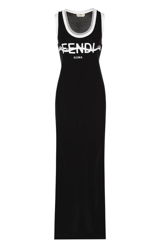Хлопковое платье с логотипом бренда и высокими разрезами Fendi FXX554/0GC