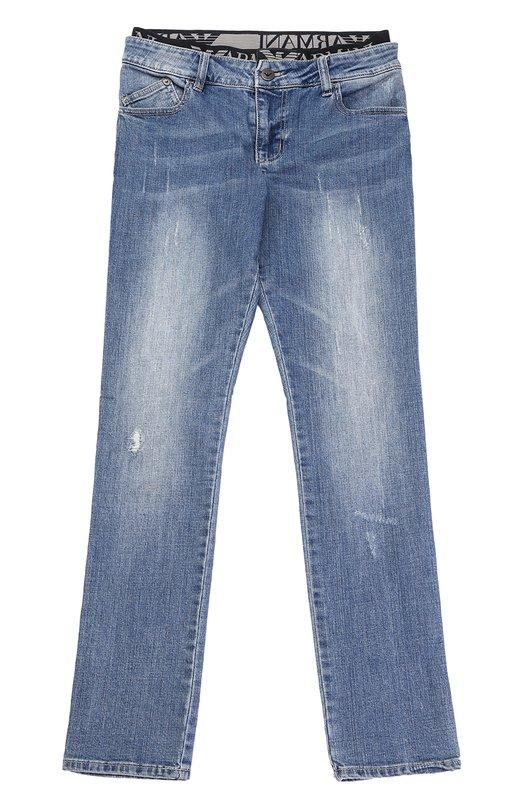 Джинсы прямого кроя с потертостями Giorgio Armani 3Y4J17/4DCCZ/4A-10A