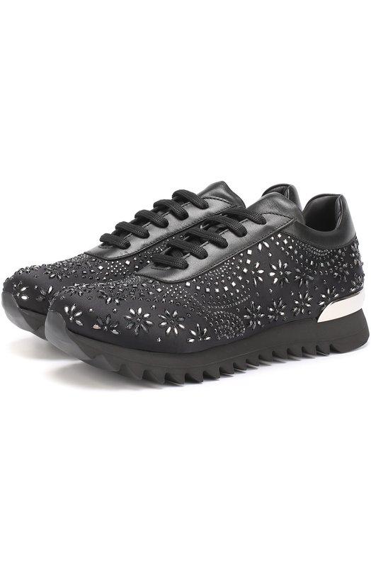 Кожаные кроссовки с декором Philipp Plein S17S WSC0025 PLE005N