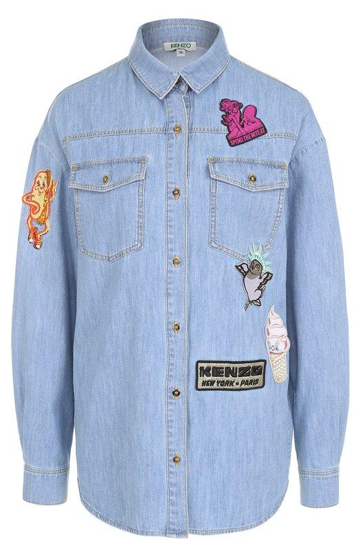 Джинсовая блуза прямого кроя с яркими нашивками Kenzo F752CH2086EM