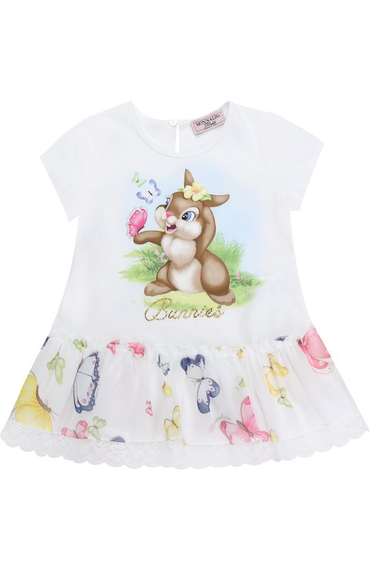 Платье свободного кроя с принтом и кружевной отделкой Monnalisa 319916ST