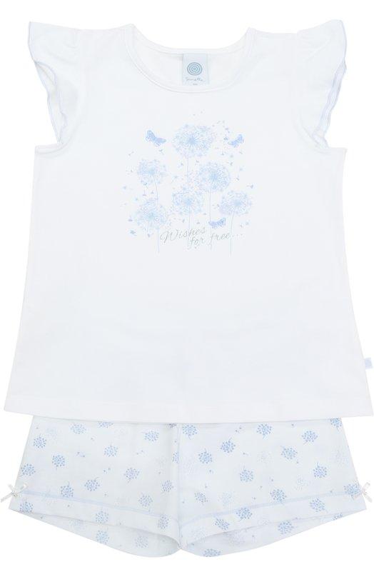 Пижама с принтом и оборками на рукавах Sanetta 231905