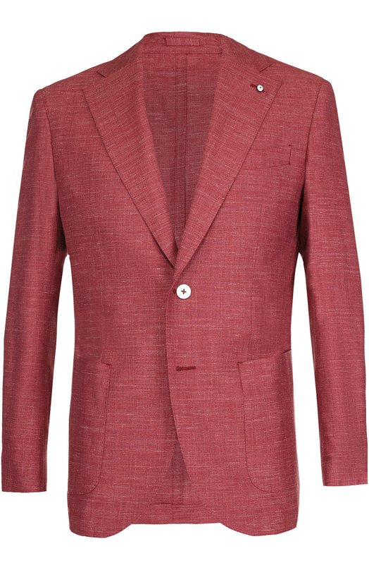 Однобортный пиджак из смеси шерсти и шелка со льном L.B.M. 1911 2403/72790