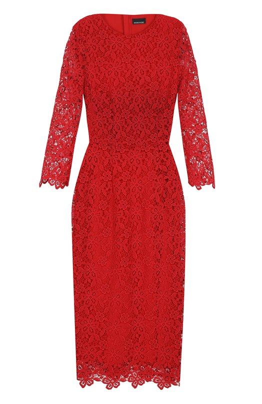 Кружевное платье-футляр с укороченными рукавами Ermanno Scervino 40T/AB50