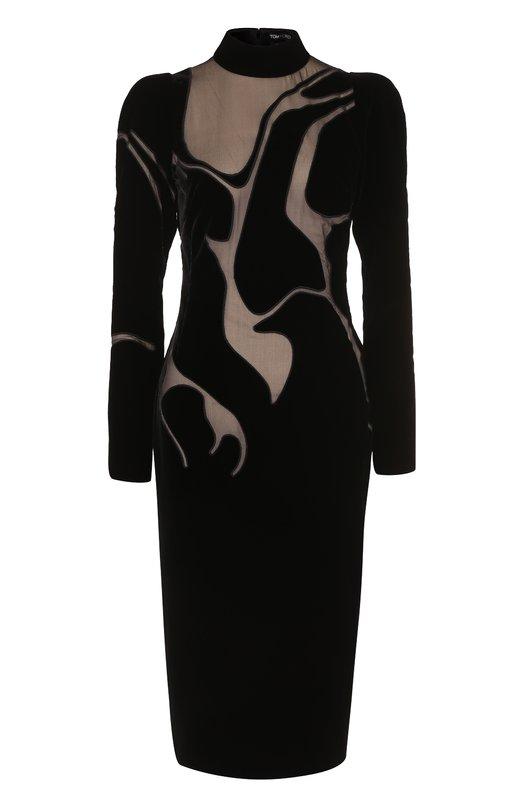 Купить Платье-миди с высоким воротником и прозрачными вставками Tom Ford, AB1939/SDE129, Италия, Черный, Вискоза: 69%; Купра: 31%; Шелк: 100%; Подкладка-шелк: 100%;