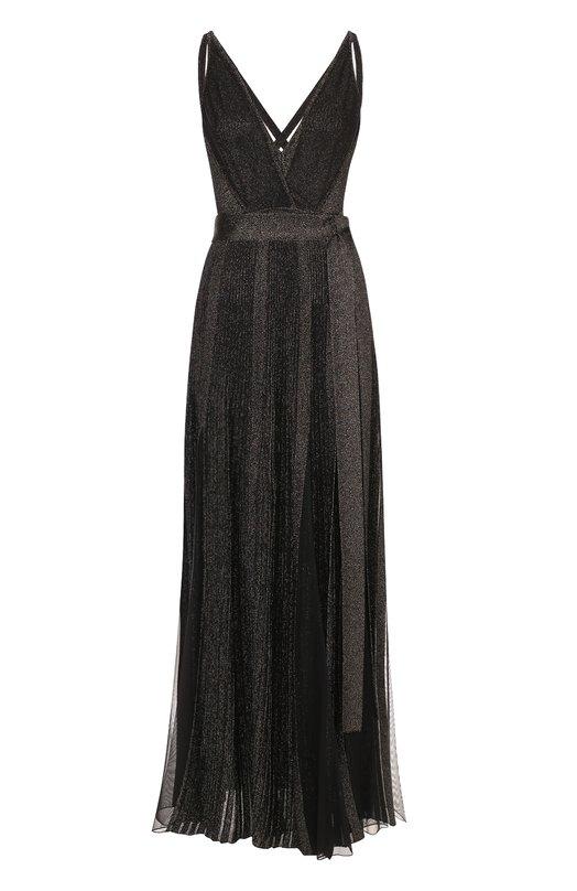 Платье-макси с высокими разрезами и металлизированной отделкой Elie Saab, 8582, Италия, Черный, Вискоза: 76%; Полиэстер: 24%;  - купить