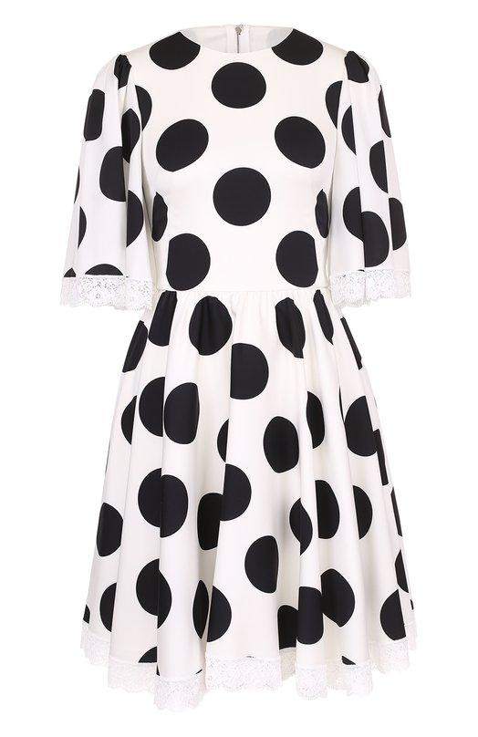 Купить Приталенное платье в крупный горох с кружевной отделкой Dolce & Gabbana, 0102/F63E5T/FSANC, Италия, Черно-белый, Хлопок: 9%; Подкладка-шелк: 86%; Шелк: 85%; Подкладка-хлопок: 8%; Эластан: 6%; Подкладка-эластан: 4%; Подкладка-полиамид: 2%;