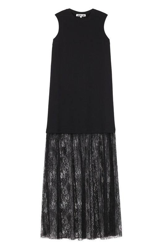 Платье без рукавов с кружевной полупрозрачной отделкой MCQ 447143/RJH15