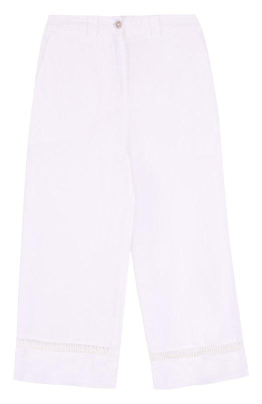 Купить Укороченные льняные брюки с карманами 120% Lino, L1W2273/0253/000, Италия, Белый, Лен: 100%;