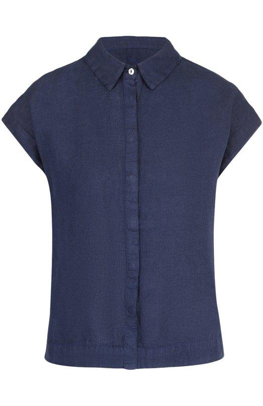 Купить Льняная блуза прямого кроя с коротким рукавом 120% Lino, L3W1204/B317/000, Болгария, Темно-синий, Лен: 100%;