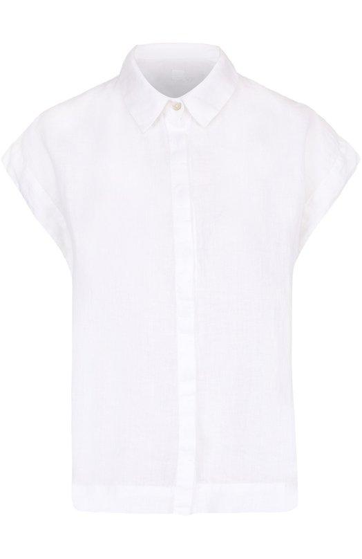 Льняная блуза прямого кроя с коротким рукавом 120% Lino L3W1204/B317/000