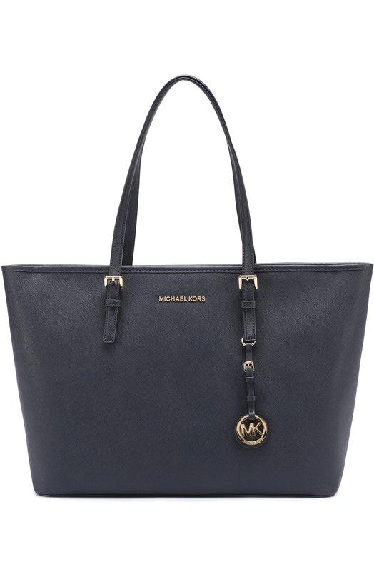 Купить Кожаная сумка-тоут Jet Set MICHAEL Michael Kors, 30T5GTVT2L, Филиппины, Темно-синий, Кожа натуральная: 100%;