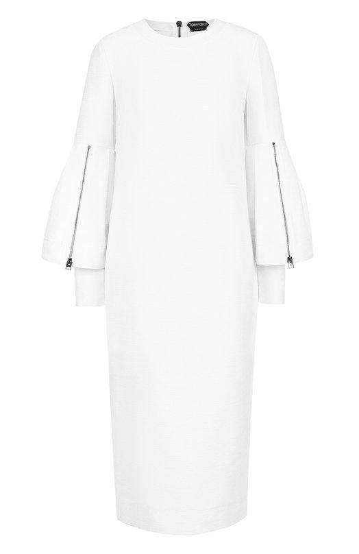 Купить Платье-миди с декоративными оборками на рукавах Tom Ford, AB1892/FAX194, Италия, Белый, Хлопок: 60%; Шелк: 40%; Подкладка-шелк: 100%;
