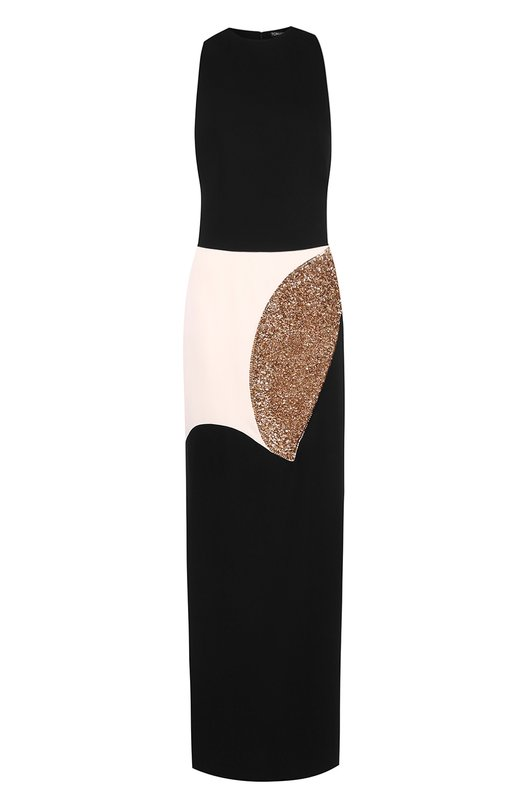Купить Приталенное платье-макси с декоративной отделкой Tom Ford, AB1888/SDE122, Италия, Черный, Отделка-пластик: 80%; Отделка-стекло: 20%; Вискоза: 100%; Подкладка-шелк: 100%;