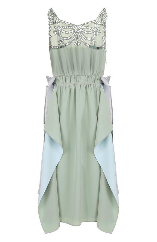 Шелковое платье с оборками и кружевной отделкой Fendi FD9295/02R