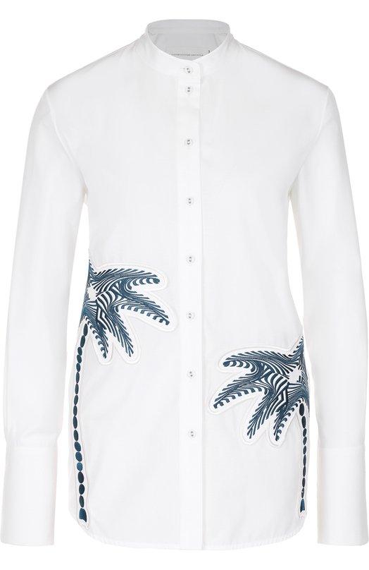 Блуза прямого кроя с вышивкой в виде пальм Victoria by Victoria Beckham SHVV 037 SS17 C0TT0N SHIRTING/EMB