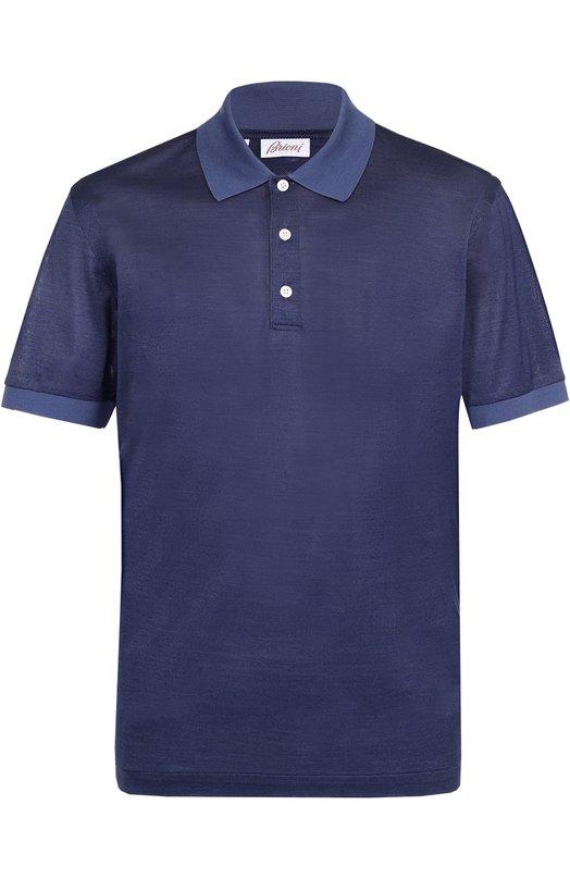 Купить Поло из смеси шелка и хлопка Brioni, UJ06/PZ628, Италия, Темно-синий, Шелк: 50%; Хлопок: 50%;