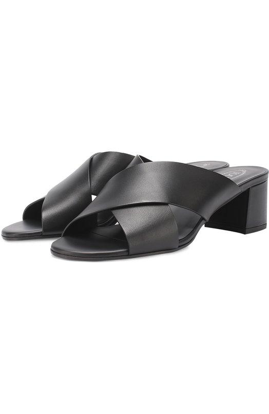 Кожаные мюли на устойчивом каблуке Tod's XXW38A0U020NB5