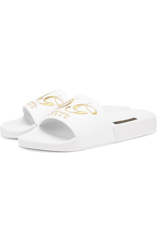 Кожаные шлепанцы с вышивкой Dolce & Gabbana 0112/CW0048/AG809