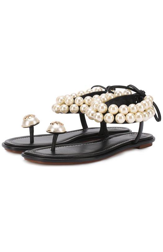 Кожаные сандалии с жемчужинами Tory Burch 37292