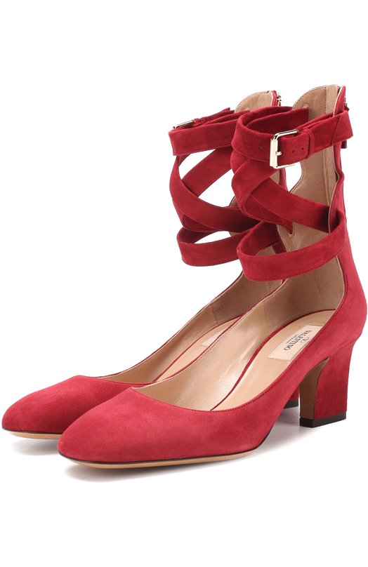 Купить Замшевые туфли Valentino Garavani Plum с ремешками на щиколотке Valentino, MW0S0C62/CAS, Италия, Красный, Стелька-кожа: 100%; Подошва-кожа: 100%; Замша натуральная: 100%;