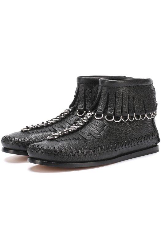 Кожаные ботинки с бахромой и подвесками Alexander Wang 306101