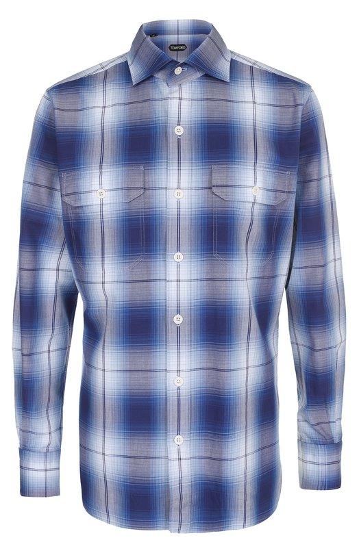 Купить Хлопковая рубашка в клетку Tom Ford, 9FT33394PIFT, Италия, Синий, Хлопок: 100%;