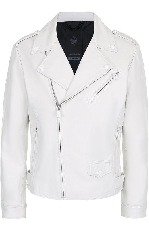 Кожаная куртка с косой молнией и декоративной отделкой Frankie Morello FMMP7006GB