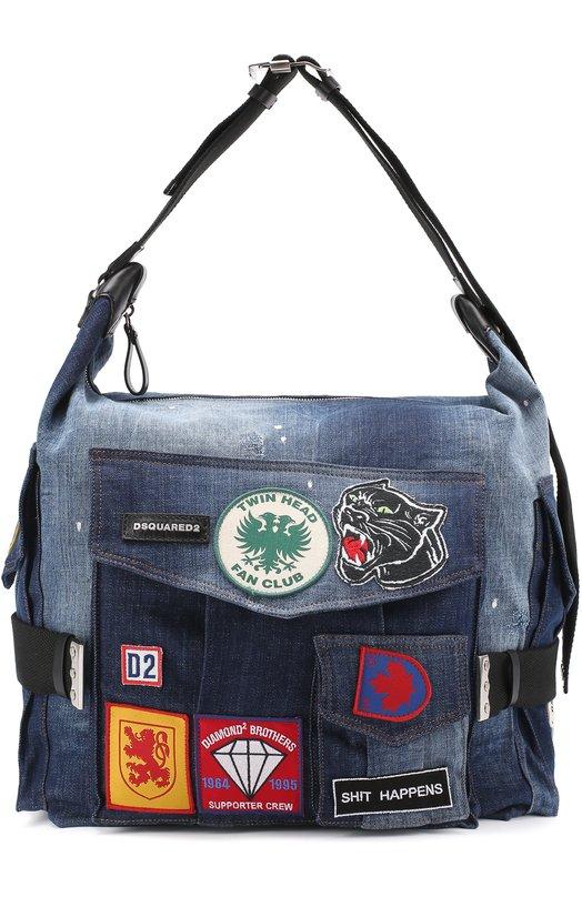 Дорожная сумка из денима с контрастными нашивками Dsquared2 S17PT1091/1246