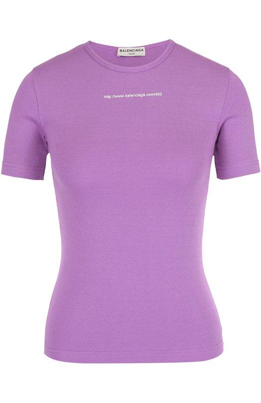 Облегающая футболка с контрастной надписью Balenciaga 470362/TVK07