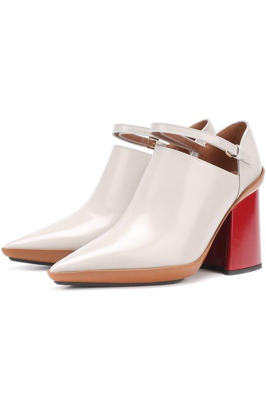 Кожаные туфли на массивном каблуке Marni MJMSW14C09LV588