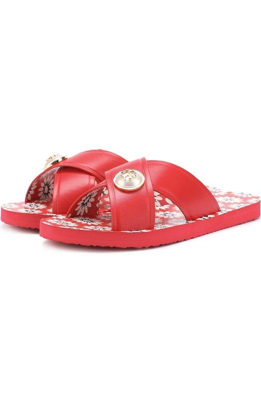 Кожаные шлепанцы с логотипом бренда Tory Burch 35973