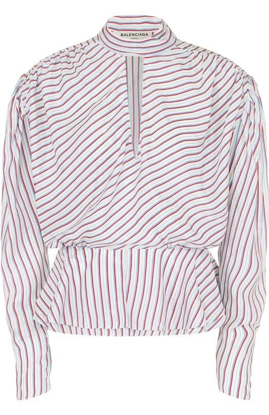 Блуза в полоску с драпировкой и баской Balenciaga 470949/TVA06