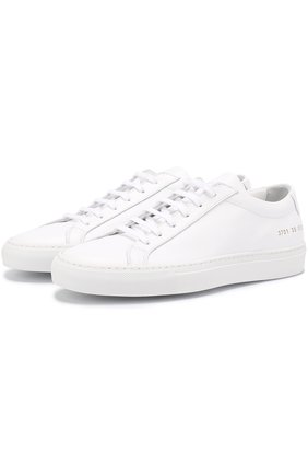 Кожаные кеды на шнуровке Common Projects черные | Фото №1