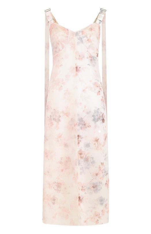 Шелковое платье с цветочным принтом и разрезами Calvin Klein Collection W72D097/WS038