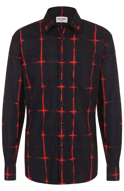 Хлопковая рубашка с контрастным принтом Saint Laurent 469667/Y364Q