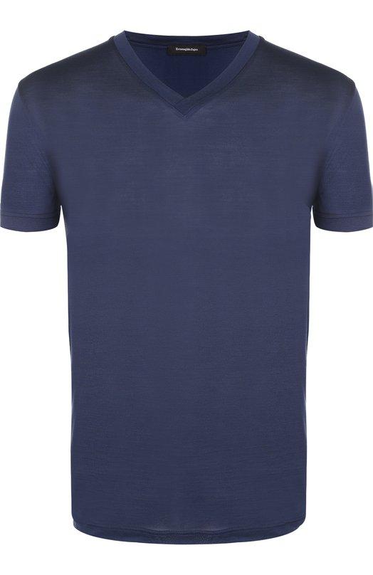 Купить Шелковая футболка с V-образным вырезом Ermenegildo Zegna, N3M800060, Италия, Темно-синий, Шелк: 100%;