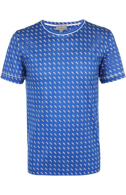 Хлопковая футболка с принтом Canali MJ00369/T0379