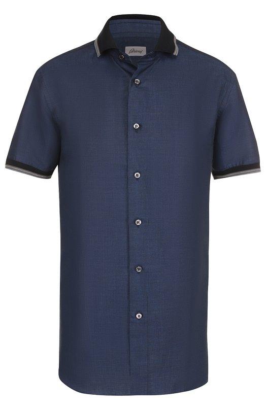 Купить Рубашка из смеси льна и хлопка с короткими рукавами Brioni, SC32/P3118, Италия, Темно-синий, Лен: 66%; Хлопок: 34%;