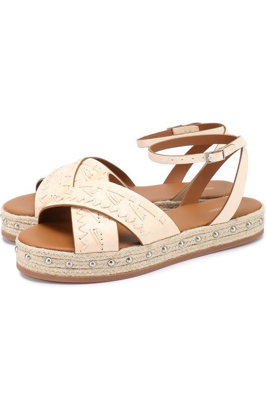Кожаные сандалии с декором Roberto Cavalli EWS507/PZ129