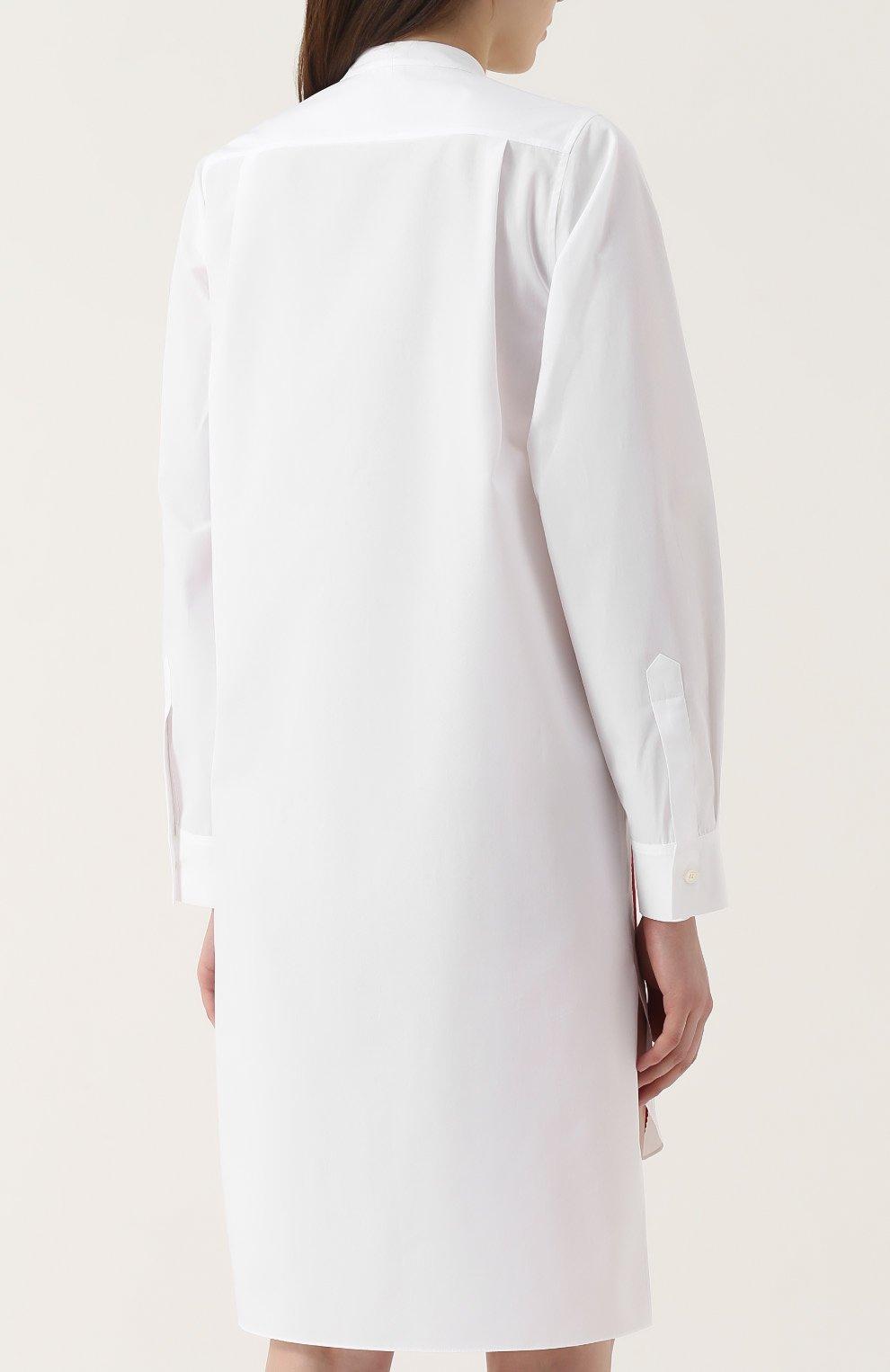Белое платье рубашка с вышивкой