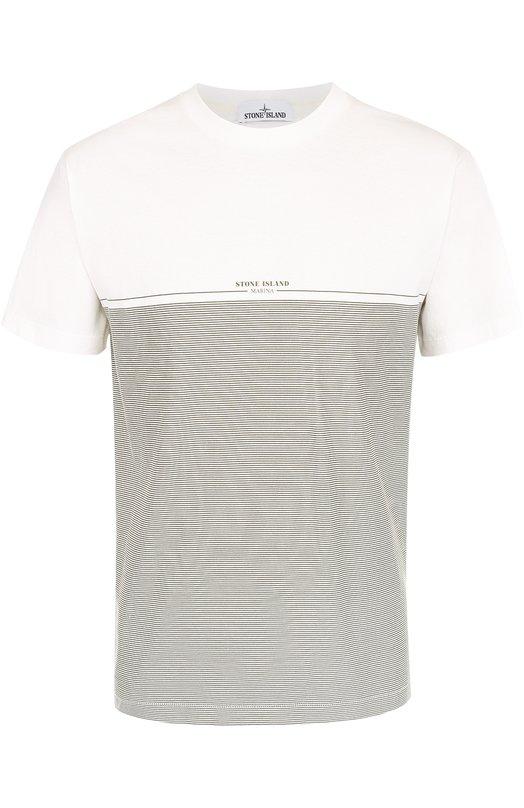 Хлопковая футболка в контрастную полоску Stone Island 66152NSXL
