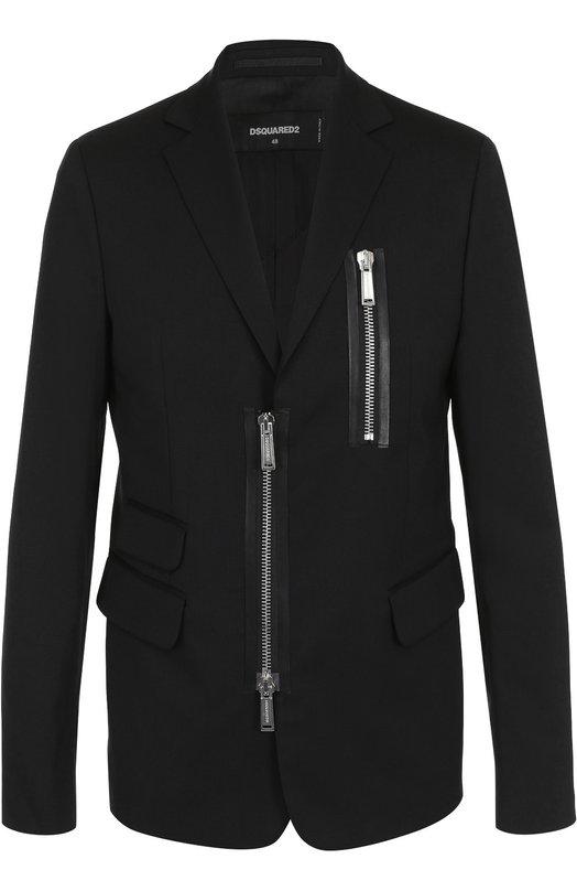 Шерстяной приталенный пиджак на молнии Dsquared2 S71BN0669/S42916