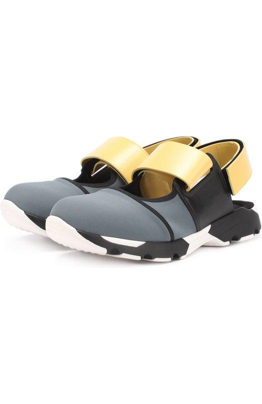 Текстильные кроссовки с открытым задником Marni SNZWW18G01TCR86