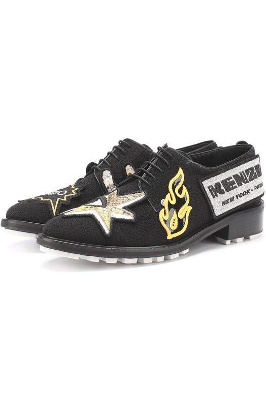 Текстильные ботинки с аппликациями Kenzo F752L0214F65