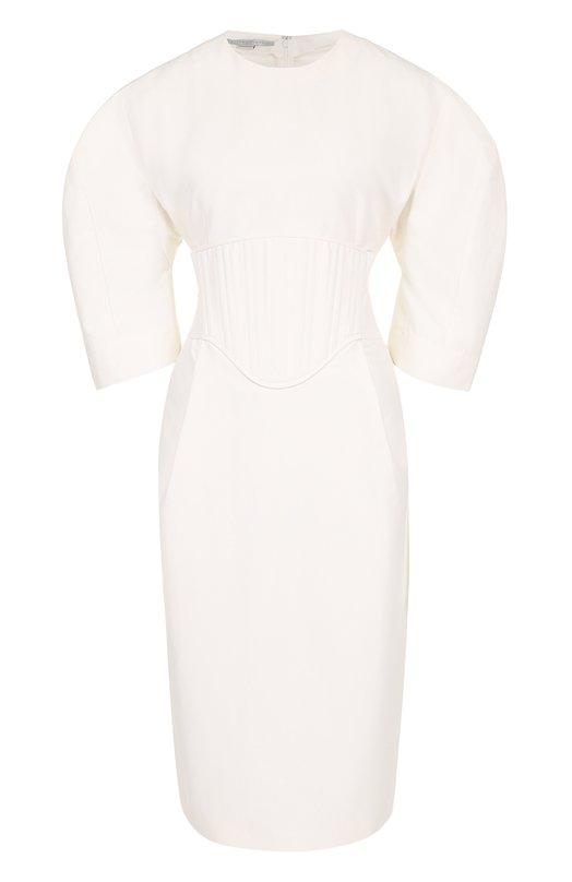 Приталенное платье-миди с рукавом-фонарик Stella McCartney 464621/SIA50