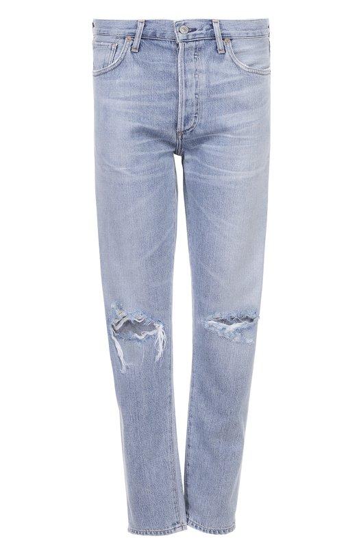 Купить Укороченные джинсы прямого кроя с потертостями Citizens Of Humanity, 1577-749, США, Синий, Хлопок: 77%; Вискоза: 23%;