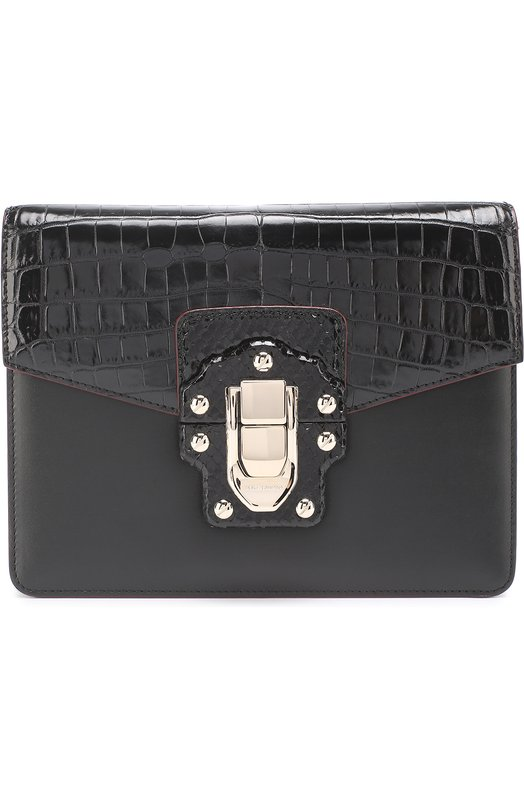 Купить Сумка Lucia с отделкой из кожи крокодила и питона Dolce & Gabbana, 0116/BB6310/A2059, Италия, Черный, Кожа натуральная: 50%; Кожа/питон/: 30%; Кожа/крокодил/: 20%;
