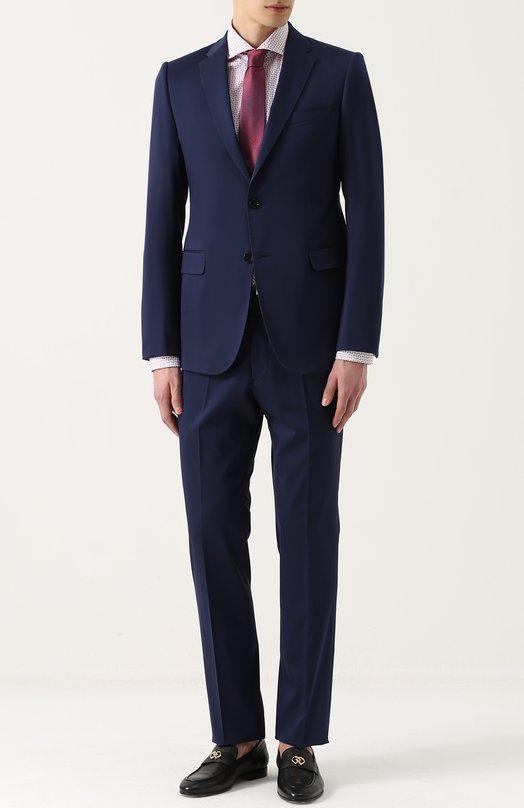 Хлопковый костюм с пиджаком на двух пуговицах Armani Collezioni VCVMEB/VC008