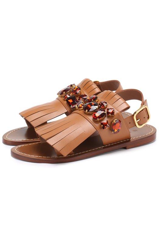 Кожаные сандалии с бахромой и кристаллами Marni SAMSW21C00LV702
